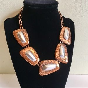 Monet Snakeskin Look Chunky Copper Necklace